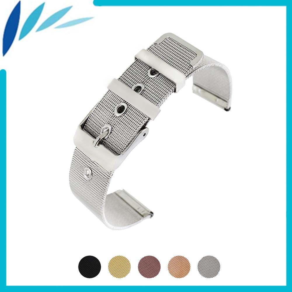 Milanese Stainless Steel Watch Band 20mm 22mm for Montblanc Men Women Metal Strap Wrist Loop Belt Bracelet Black Silver + Pin