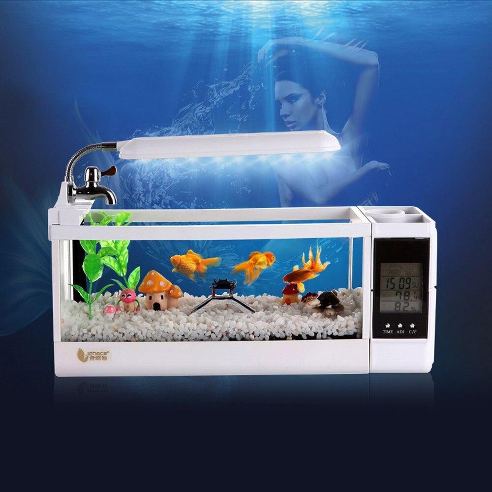 Mini acuario pecera acuario USB con lámpara LED pantalla de visualización LCD y reloj pecera de escritorio acuario peceras 220V