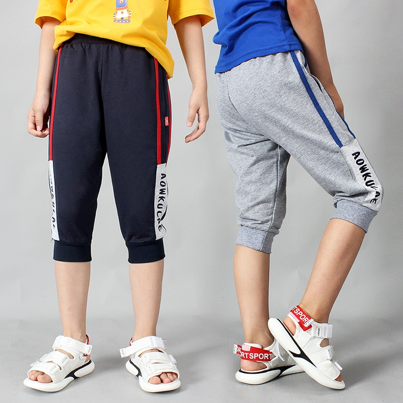 4-13 Years Boys Cropped Trousers Korean Style Fashion Summer Cotton Sport Capri Pants Kids Children