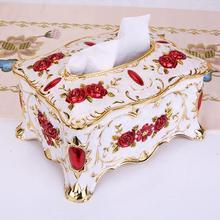 Modern European Metal Floral Pattern Creative Tissue Box Paper Towel Tissue Holder Container Napkins Holder Desktop Decor
