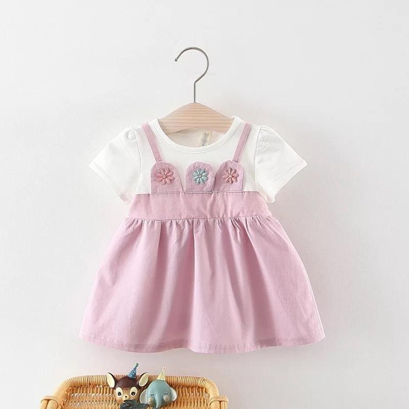 BNWIGE/летнее платье с короткими рукавами для маленьких девочек; Платье на крестины и День рождения; Платья для новорожденных; Детская повседн...
