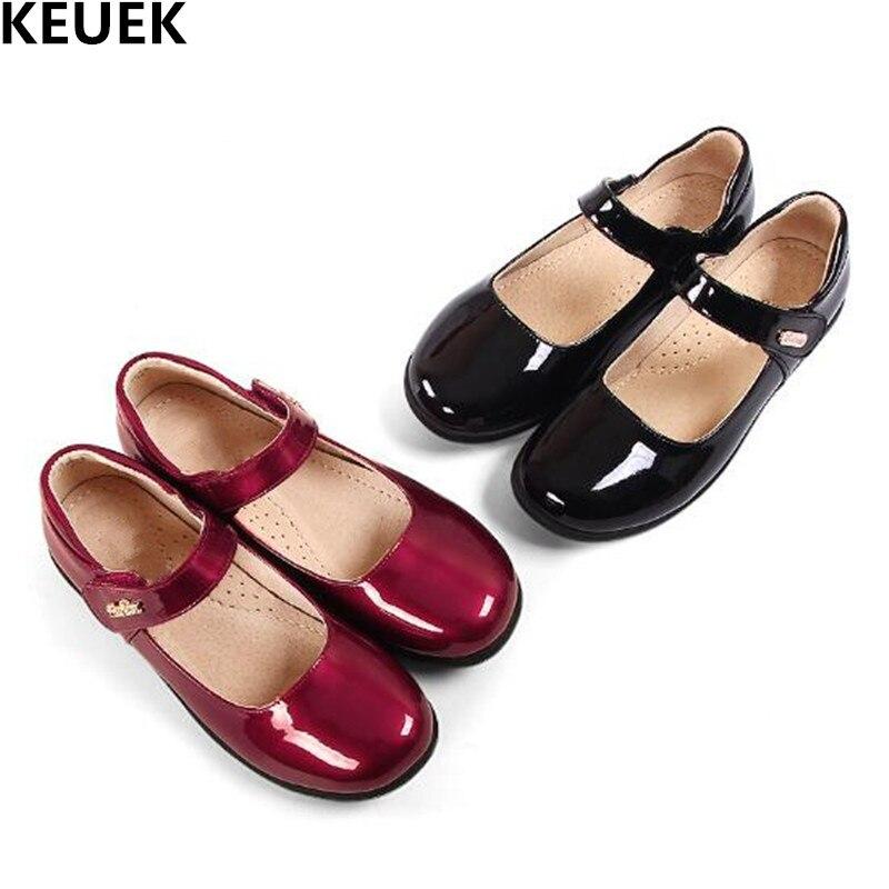 أحذية جلدية سوداء للبنات ، أحذية أميرة للطلاب ، صنادل رقص مسامية للحفلات ، قارب للأطفال 019 ، مجموعة جديدة للربيع والخريف