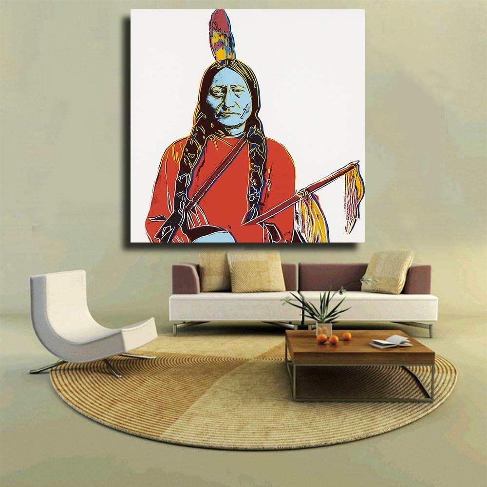 Hdartisan touro sentado e indiano 1986 por andy warhol arte imprime sobre tela para sala de estar decoração casa sem moldura