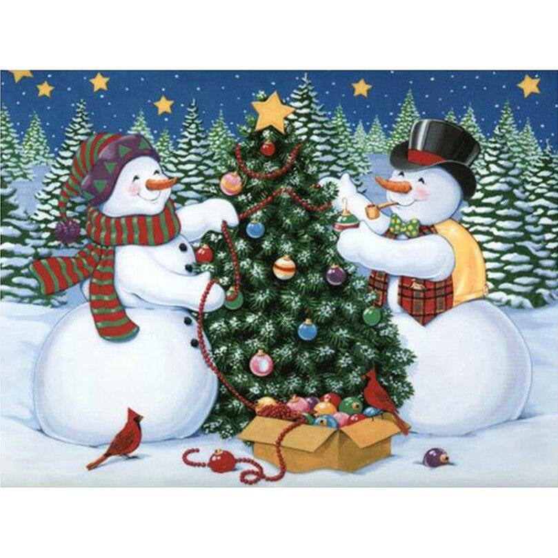 Pintura de punto de cruz decorativo con diamantes DIY en 3D, bordado de diamantes, mosaico de diamantes, árbol de Navidad y muñeco de nieve AS823