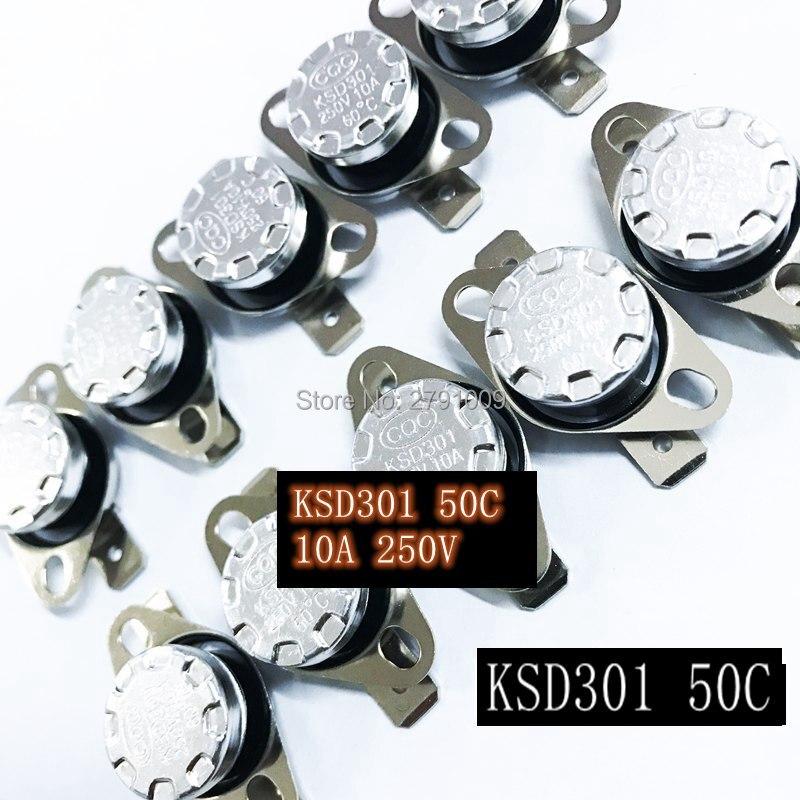 Interruptor de temperatura de cierre automático normalmente NO abierto de 50 grados KSD301 10 Uds. Interruptor de desconexión automático normalmente cerrado 50C