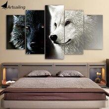 HD Gedrukt 5 Stuk Canvas Art Abstract Zwart Wit Wolf Paar Schilderij Muur Foto 'S voor Woonkamer Gratis Verzending CU-1677A