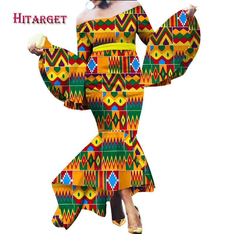 2018 African Mermaid Multiple Layers Dresses for Women Autumn Maxi Dashiki Off the Shoulder Dress Clothing WY2208