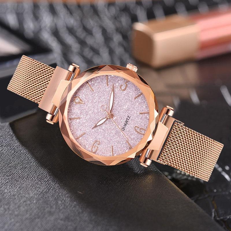 Reloj de pulsera de lujo de oro rosa para mujer, a la moda, resistente al agua, marca superior, imán de banda de acero inoxidable