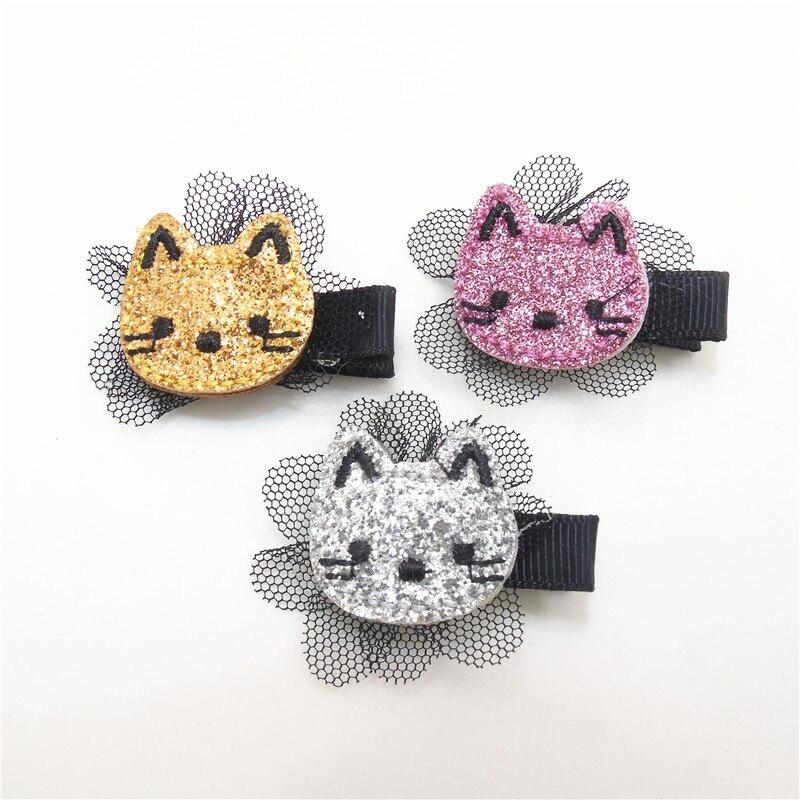 15 pçs/lote glitter feltro gatinho grampo de cabelo bordado gato barrette com flor preta malha mini criança menina apertos de cabelo dos desenhos animados pitada