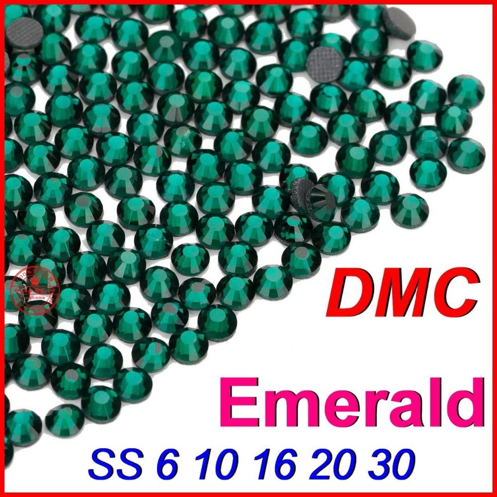 De alta calidad SS6 10 16 20 30 Esmeralda cristal caliente del arreglo DMC Flatback Strass diamantes de imitación de cristal las piedras de las mujeres ropa