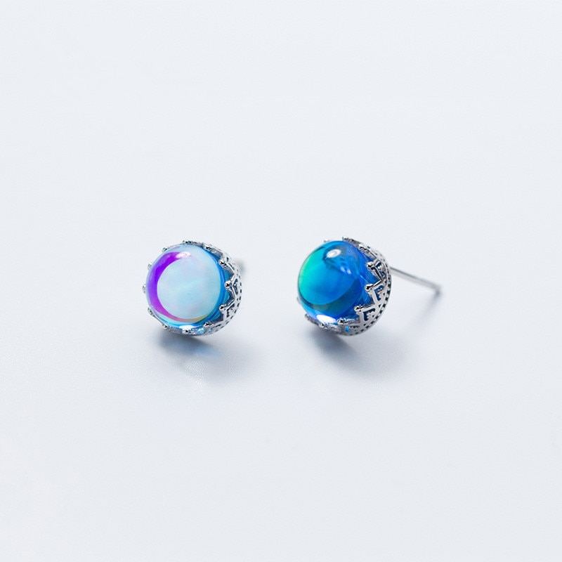 Aurora Crown Stud Earrings Crystal 925 sterling silver Round Earrings for Women Elegant Wedding Jewelry brincos dz714