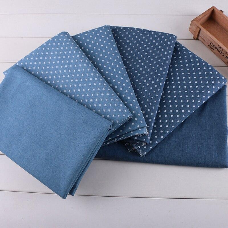 Baskılı Yıldız Nokta Denim Mavi Kot Kumaş DIY dikiş elbise pantolon renk yumuşak yıkanmış denim eski bebek elbise kumaş