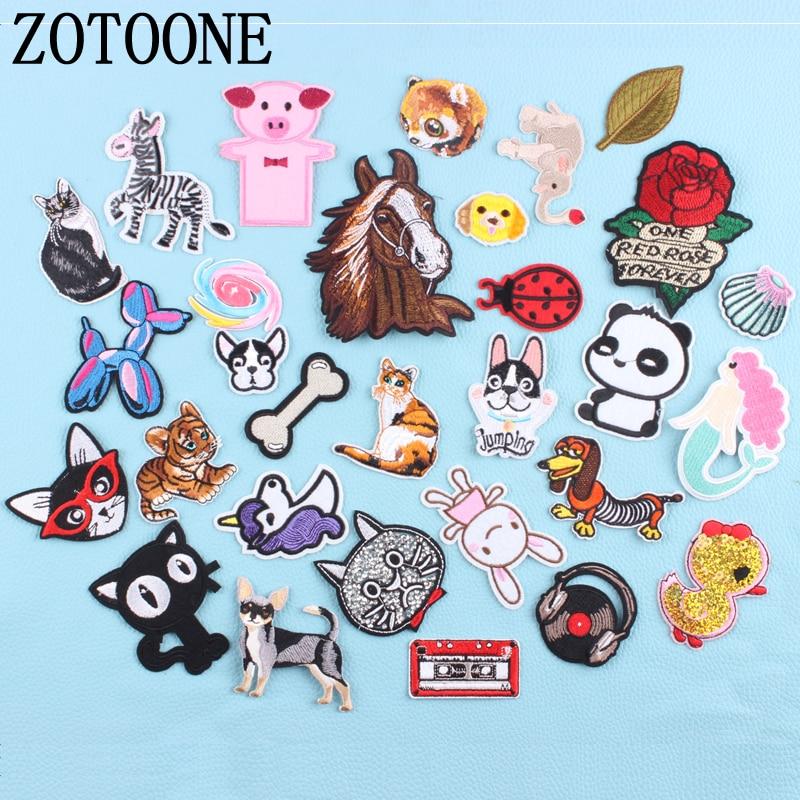 ZOTOON gato perro unicornio flor espacio Animal parches planchar o coser pegatina de tela para insignia para ropa apliques bordados DIY F