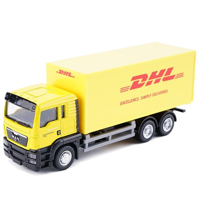 Camión fundido a escala 1 64, camión expreso DHL, modelo transportador contenedor amarillo, camión de carga, juguetes para niños, regalo de colección para niños