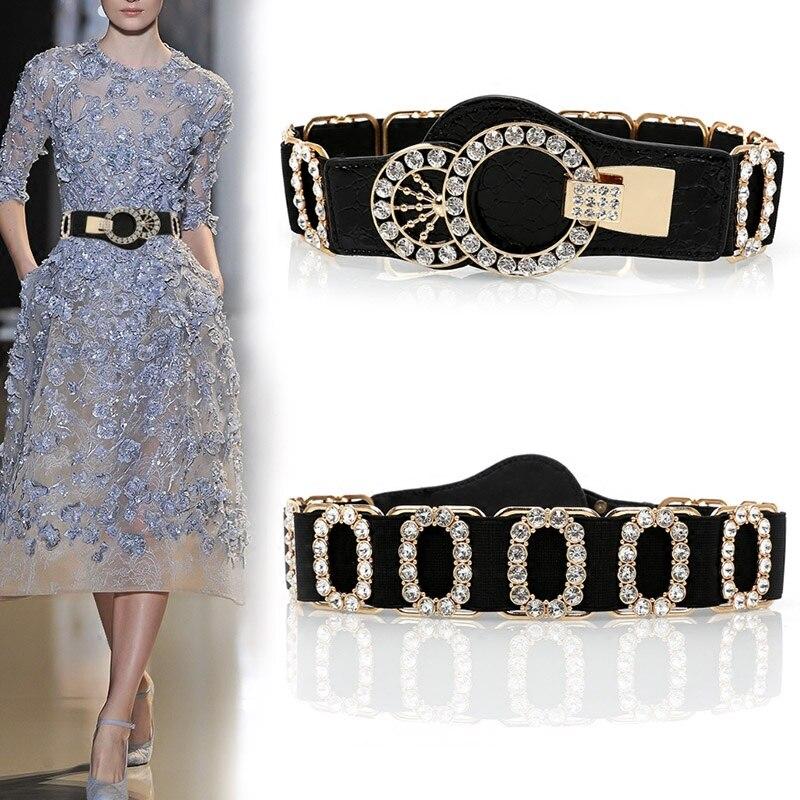 Cinturón de diamantes de imitación para mujer, cinturón elástico para cintura, fajas con hebilla