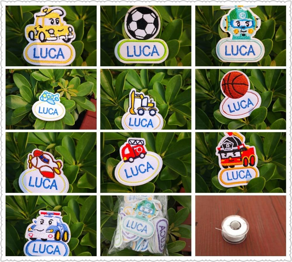 Etiquetas feitas sob encomenda do bordado das etiquetas da identificação do nome das crianças remendos lavável/costurado em/personalização