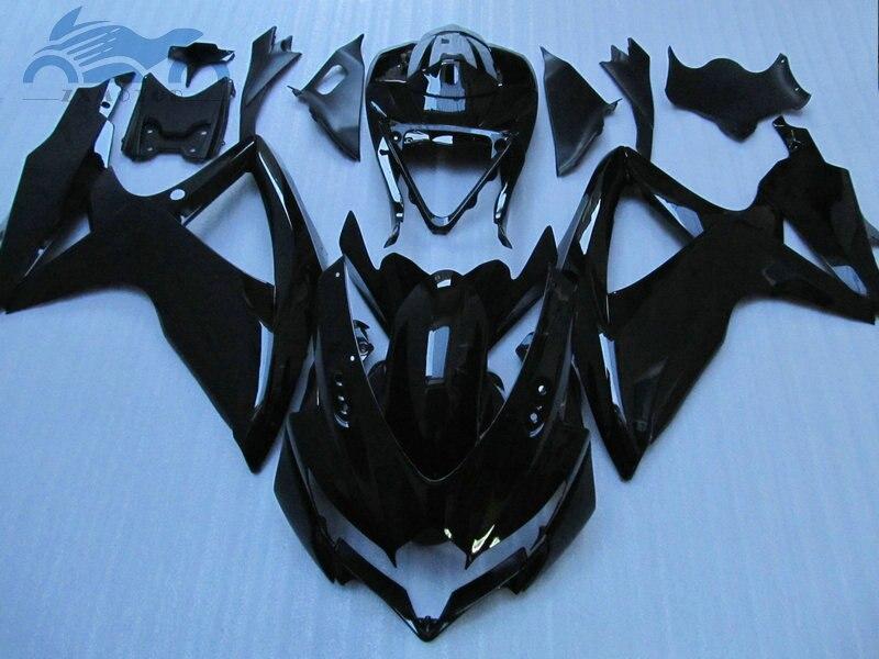 100% صالح لسوزوكي GSXR600 fairings 2008 2009 2010 GSXR750 دراجة نارية GSXR 600 750 K8 K9 08 09 أسود لامع