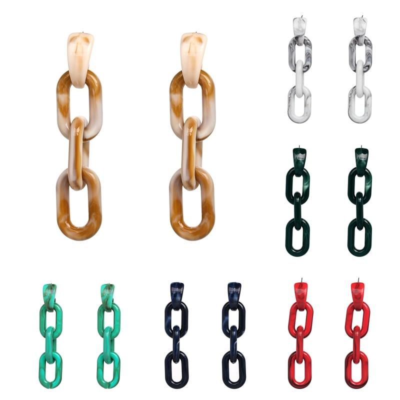 JUJIA fashion women statement  resin link chain Earrings for women fashion earring wholesale women wedding gift wholesale