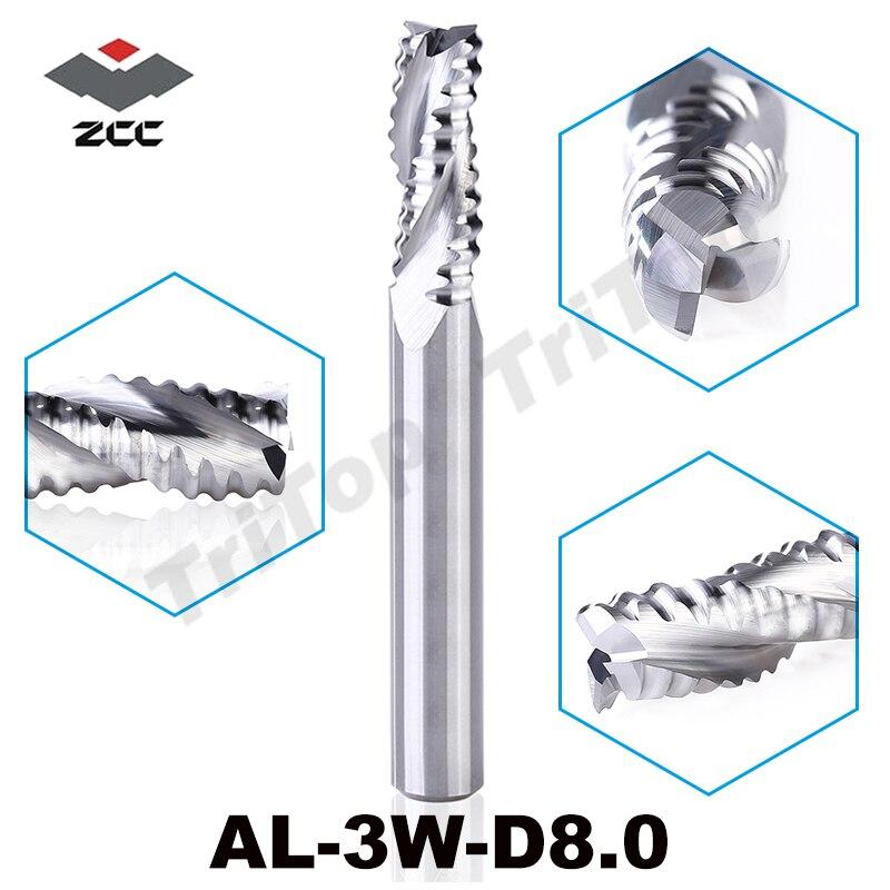 Mecanizado en bruto de aleación Al ZCCCT AL-3W-D8.0 carburo sólido 3 Molino de extremo aplanado 8mm vástago recto y corrugado los bordes