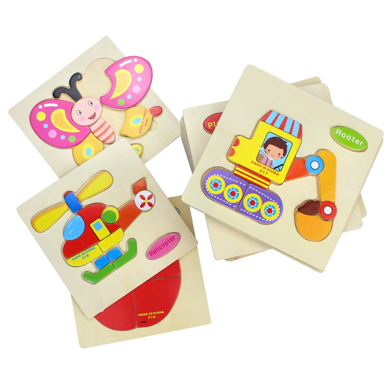 Детские игрушки деревянный пазл милый мультяшный животный интеллект Детский развивающий подарок головоломка детская танграмма паззл в форме подарка