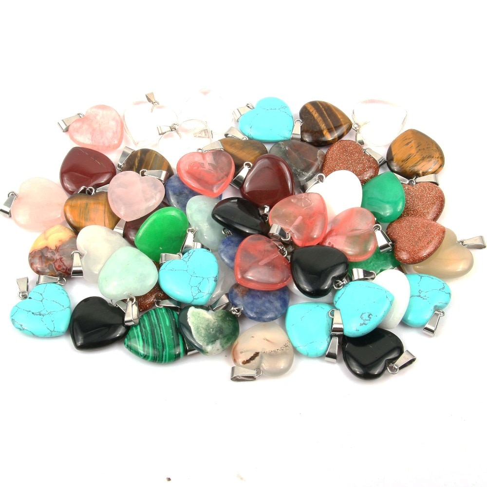 Wholsale Stone Pendant Heart Shape Pendants Opal/Malachite Charms for  Necklaces Jewelry Making 20*6 mm