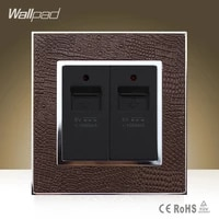 big sale wallpad luxury double usb ports goats brown leather wall phone usb charger wall socket free shipping