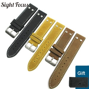Universal Screw Crazy Horse Leather Strap Watchband for Hamilton Khaki 20mm 22mm Cowhide Leather Watch Bands Men Pilot Hombres
