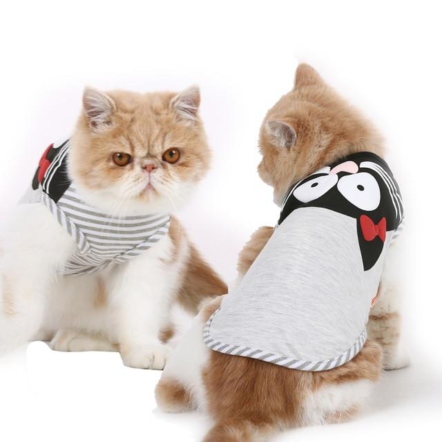 Nuevo chaleco de rayas para gatos suave gris Primavera Verano camiseta para perros chaleco para mascotas pequeñas XS S M L XL