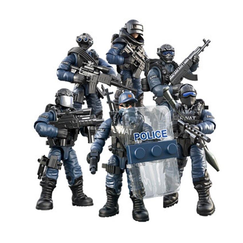Conjunto de Mini soldado SWAT figuras especiales de policía con bloques de construcción arma ejército Compatible con todas las marcas principales juguetes regalo Dropshipping