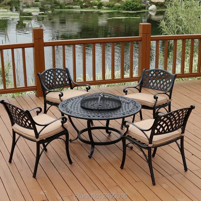 Juego de barbacoa de mesa redonda para jardín/Patio, aluminio fundido sólido terminado en negro, brazo bajo 4 sillas