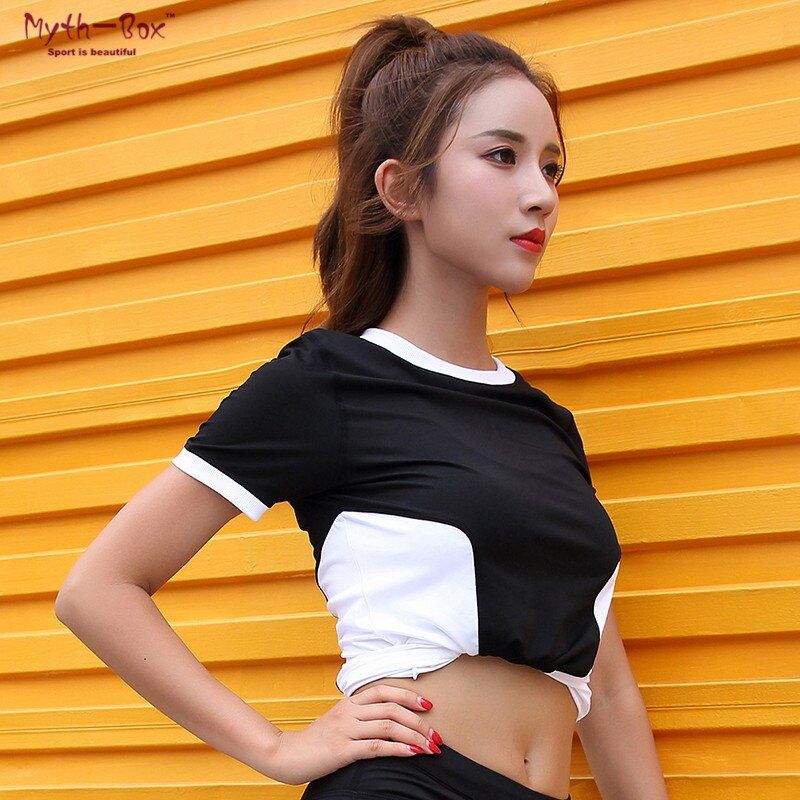 Summer Women Yoga Shirts Hit Color Elastic Thin Short Sleeve Sport Tshirt Fitness Tee Tops Running Shirts Breathable Slim Blouse