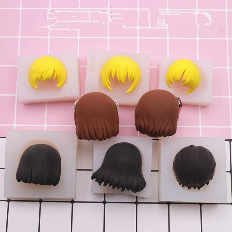 Ultra leve argila q versão argila curto molde de cabelo/silicone molde/flip açúcar macio boneca/cabelo curto silicone