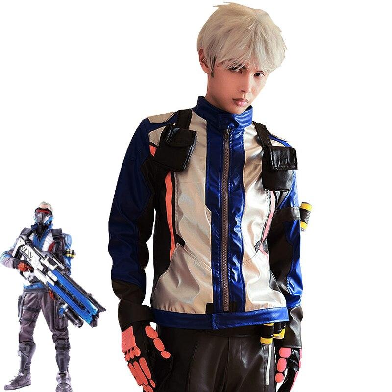 Disfraz de Cosplay de juego OW Soldier 76, chaqueta, abrigo de Jack asimétrico, Cosplay para adultos y hombres, superventas juego de Halloween, pelota de fiesta hecha a medida