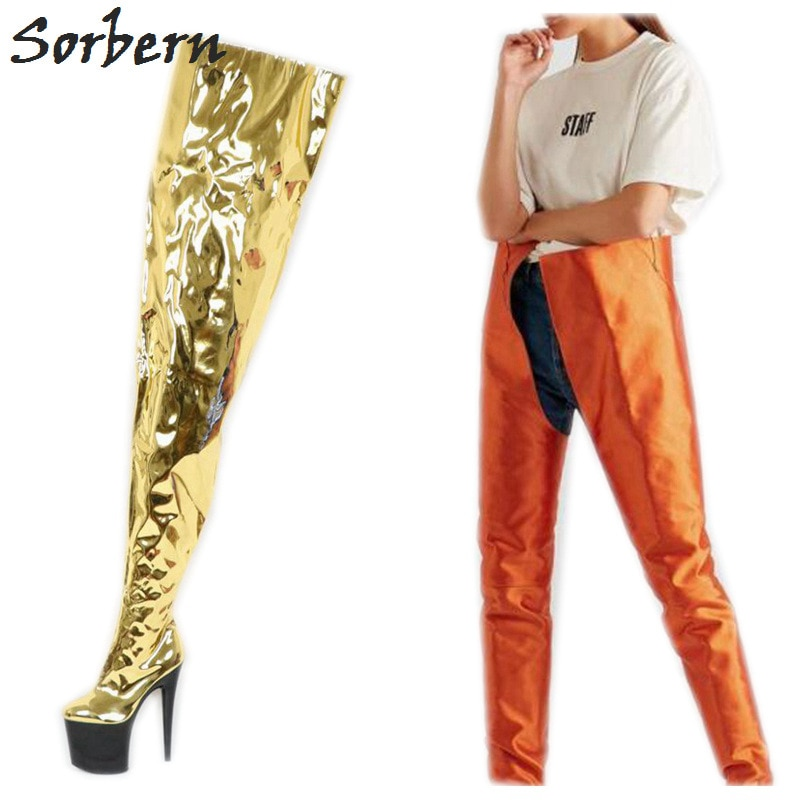 Sorbern Metallic Gold High Low Women Boots 20Cm High Heels 10Cm Platform Crotch Thigh High Ladies Boot Custom Color Shaft Width
