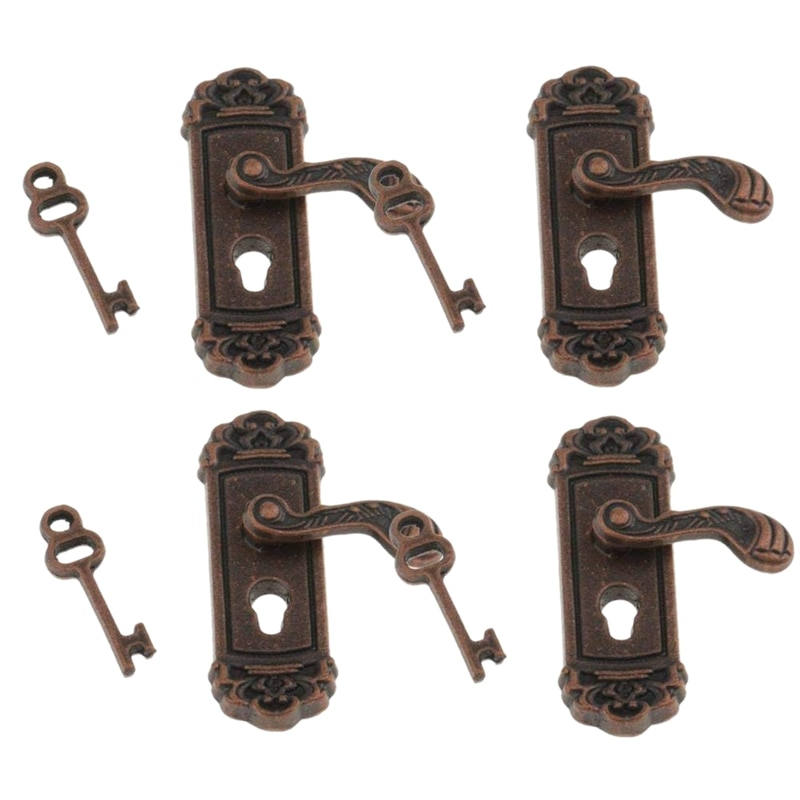 4Pcs Doll House Door Lock 1:12 Alloy Retro House Miniature Door Lock Doll House Furniture Accessories Right Handle Door Lock K