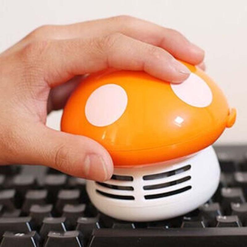 Nuevo aspirador de escritorio funcional seta de dibujos animados, Mini colector de polvo, teclado de ordenador doméstico, cepillos de limpieza