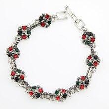 Bijoux fantaisie nouveau Design fait à la main femmes Top qualité cristal autrichien fleur monde Pulseras Bracelets déclaration gratuite Bracelets