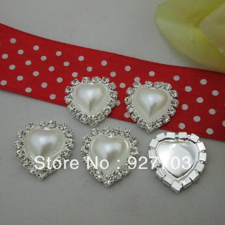 (CM573 18mm) 100 X White Pearl Flatback Heart  Rhinestone Embellishments Craft