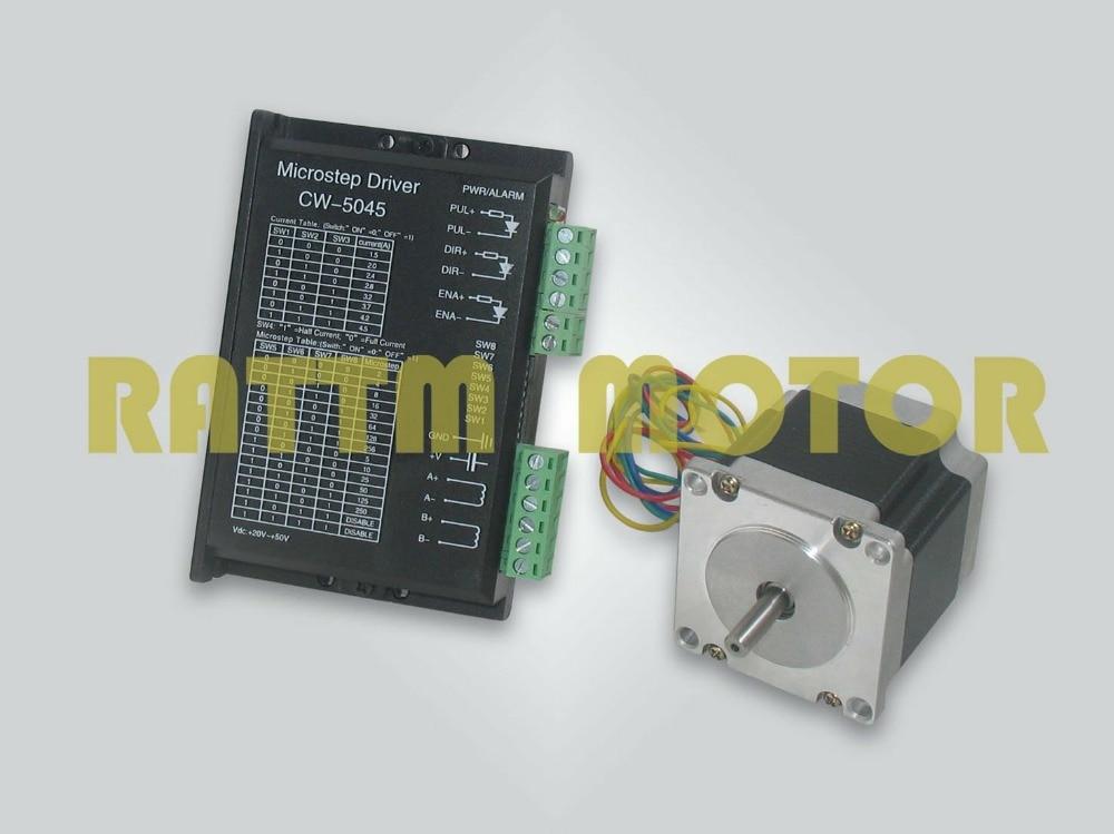 Motor paso a paso NEMA23 165 oz-in/2.5A y controlador con 256 microstep y a corriente de 50V