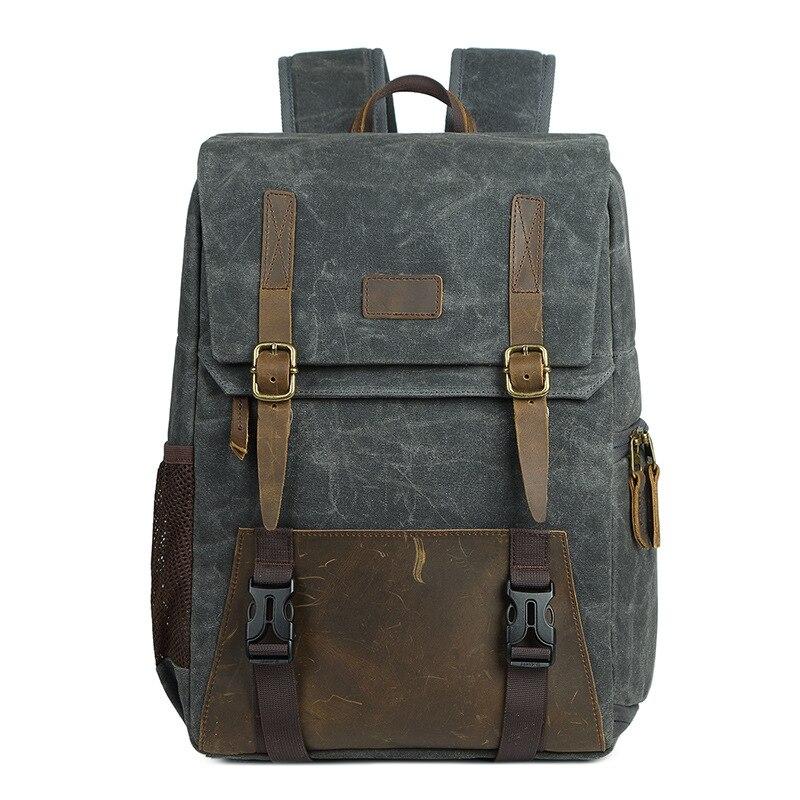 Водонепроницаемый холщовый рюкзак для цифровой Slr камеры 15,6-дюймовый Usb зарядка для объектива камеры и ноутбука (серый)