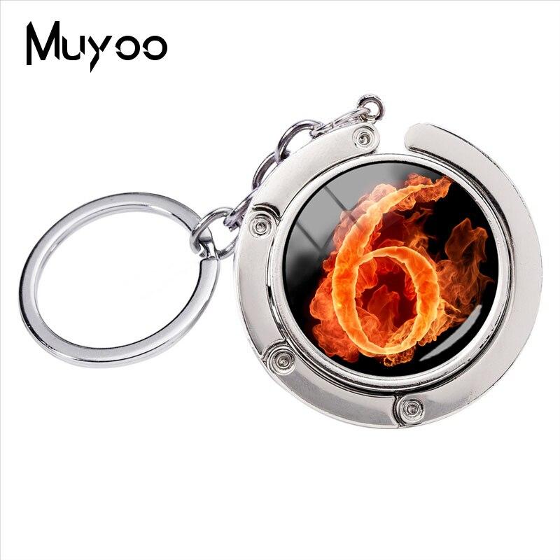 2018 nueva moda de la ardiente número Cabochon de vidrio de clave de la cadena número llavero para enamorados de moda clave anillos de joyería para regalo