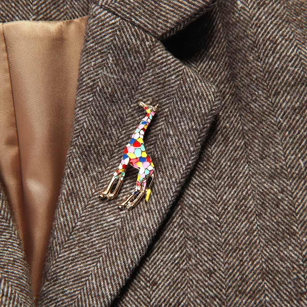 1 pc broche para mulheres girafa animal esmalte bonito moda jóias pino presente para crianças requintado unissex festa roupas acessórios