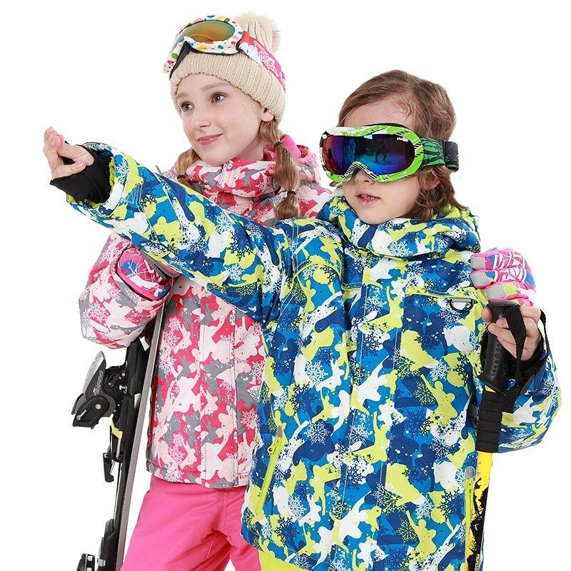 Trajes de esquí de nieve para niños, chaquetas de esquí con capucha impermeables al aire libre para niños y niñas, pantalones de invierno cálidos para niños