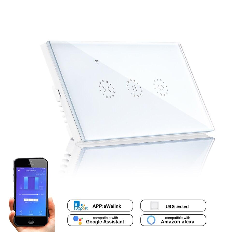 Ewelink APP EUA Wi-fi Interruptor Da Parede de Cortina para a Cortina motorizada Elétrica Persiana Cegos Google Home/Alexa Controle de Voz