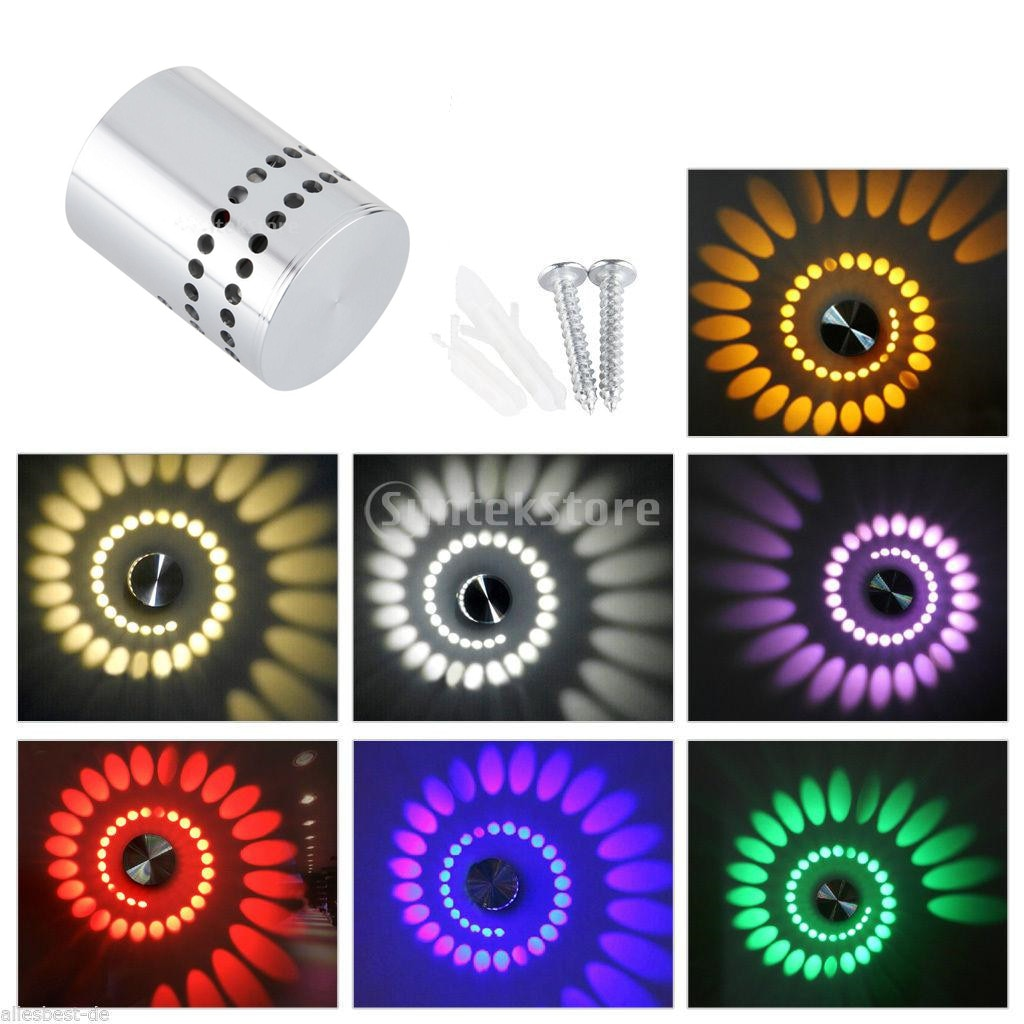 RGB espiral 3W, aplique de pared LED, luz de porche, accesorio de decoración de escalera, lámpara de punto-WHT