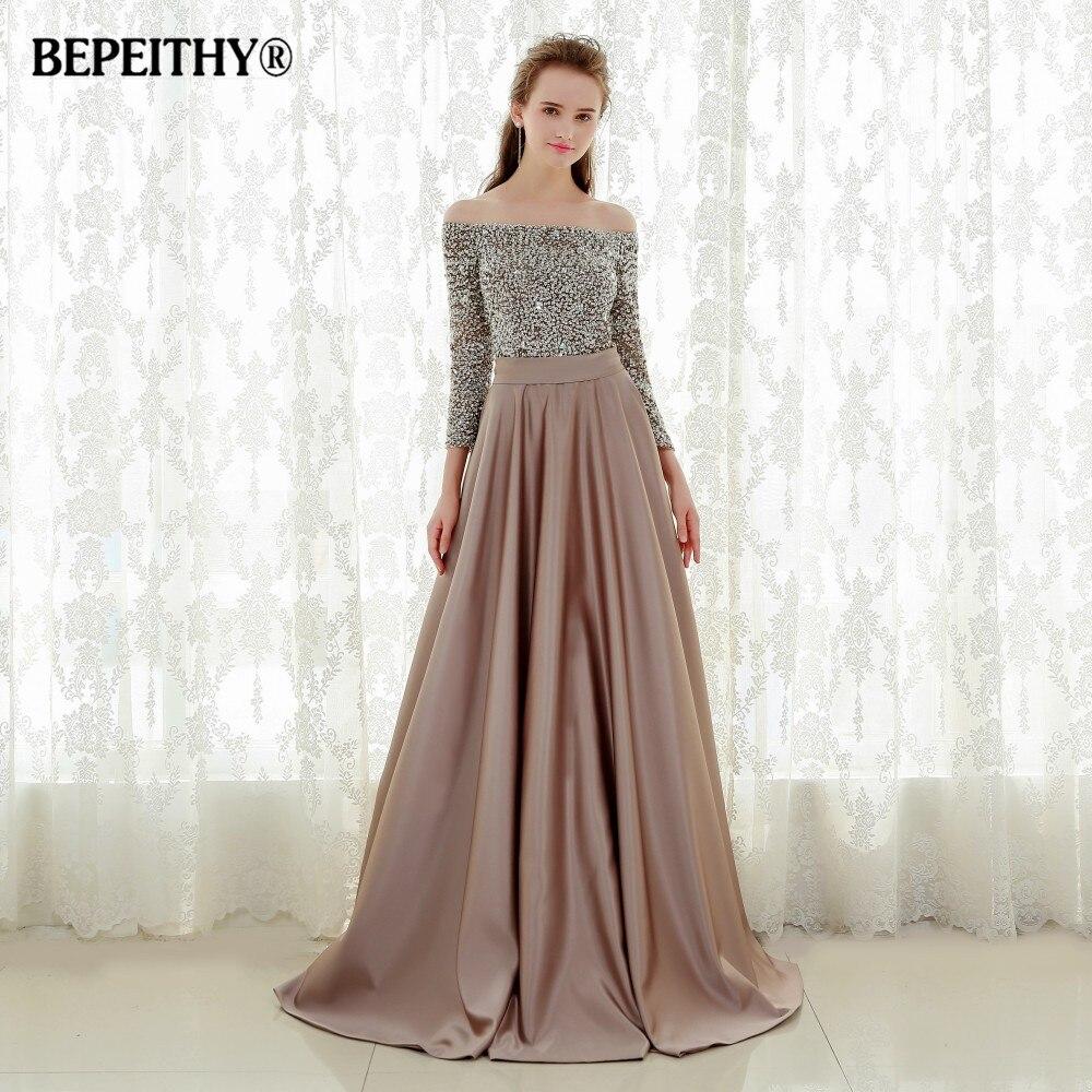 فستان سهرة مثير بأكتاف عارية وأكمام ثلاثة أرباع ، ثوب كرة طويل ، موضة 2021