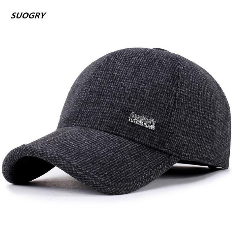 SUOGRY Wool Feel Baseball Cap Russia Winter Hats Warm with Fleece inside and Earflaps Men's Caps Vintage Baseball Hat