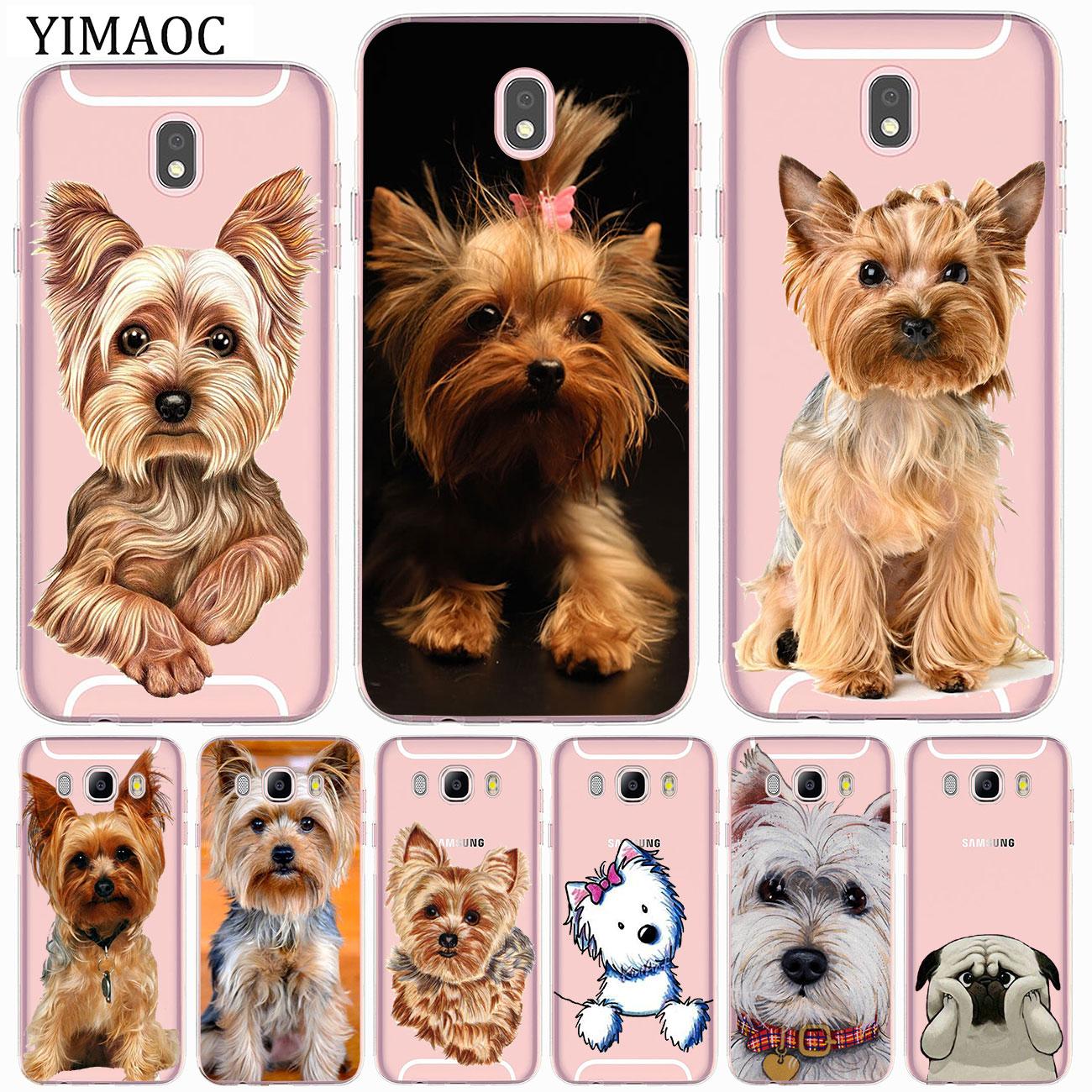 Funda suave para cachorro de yorkshire terrier, para Samsung Galaxy J8 J7...