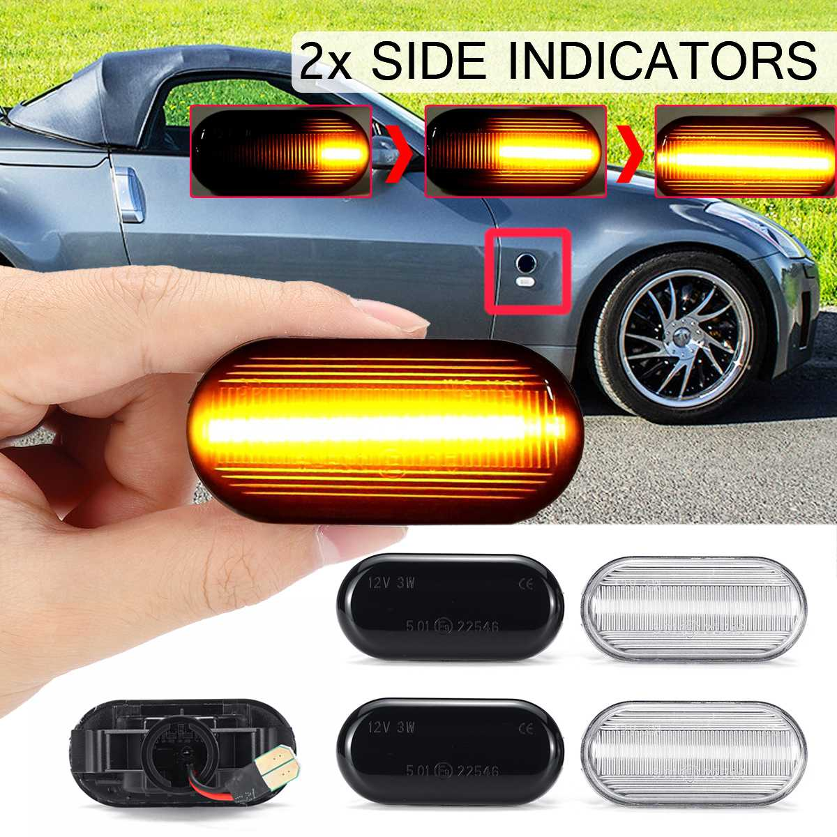2pcs Dynamic LED Side Marker Lights 12V Flowing Turn Signal Light Side Repeater Lamp Panel Lamp for Nissan Qashqai J10 Micra C