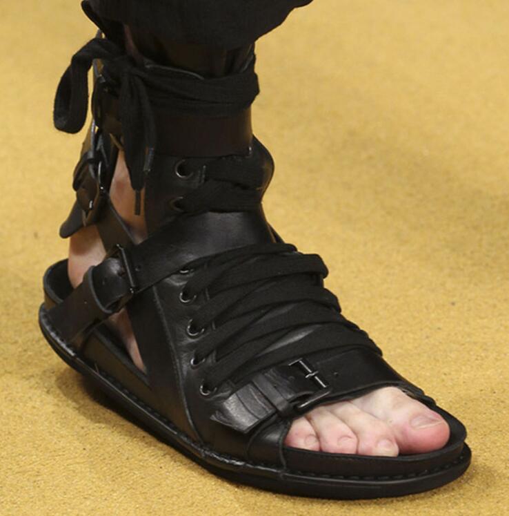 Tuziblobo الرجال روما الصنادل حذاء أسود صنادل طراز جلاديتور عالية أعلى أوين حقيقية خف جلدي الشرائح الصيف الرجال الصنادل